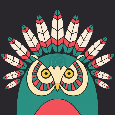 Illustration for Indian owl with feathers - Royalty Free Image