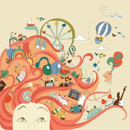Illustration pour Fille aux cheveux roux et ses rêves de voyage et de vacances - image libre de droit