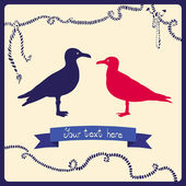 Two gulls love colorful card Can be used for postcard valentine card wedding invitation