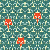 Seamless pattern with fox and wolf