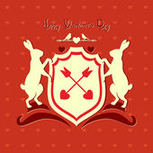 Valentine's Day heraldic crest with animals