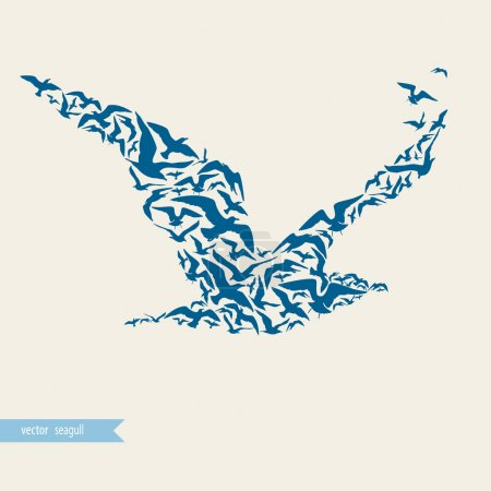 Illustration for Seagull made of seagulls - Royalty Free Image