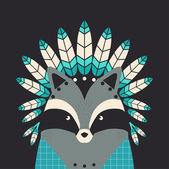 Indian raccoon with feathers