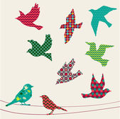 Set of birds silhouettes - flying sitting Colorful Pattern