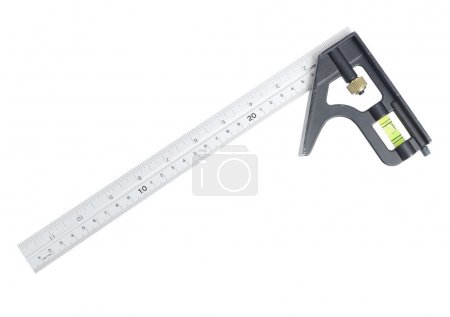 Metal ruler with level indicator isolated on white