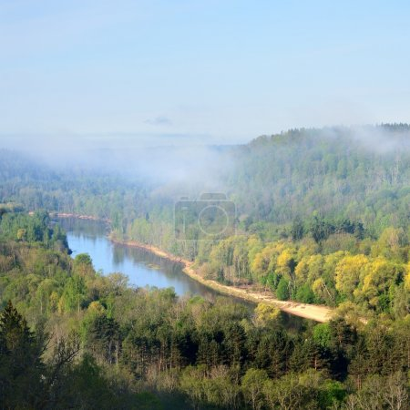 Areal view on Gauja river valley in spring in Sigu...