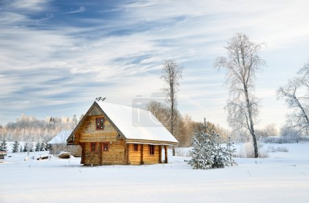 Traditional countryside house in winter