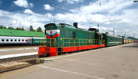 Train at the station in bridght sunny day in Russia