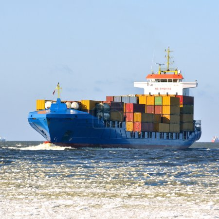 Photo for Cargo container ship sailing - Royalty Free Image