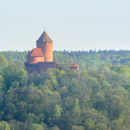 View on Turaida castle and Gauja valley in spring ...