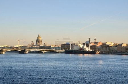 General view on Saint-Petersburg embankment and a ship