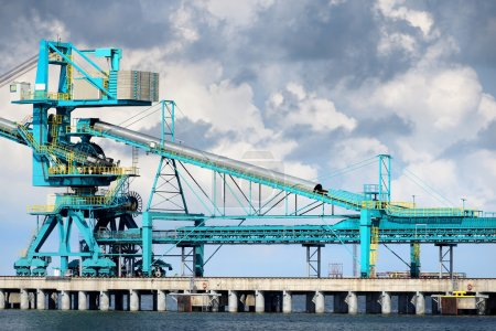 Fuel terminal industrial buildings in cargo port of Ventspils