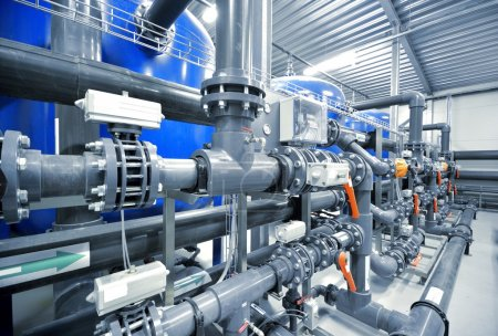Photo for New plastic pipes and colorful equipment in industrial boiler room. Industry, technology, water treatment, chemistry, environment, heating, work safety. Panoramic view - Royalty Free Image