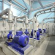 New shiny pipes and large pumps in industrial boil...