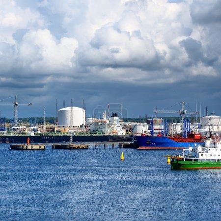 Tankers in cargo port fuel terminal.