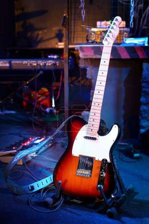 Photo for Electric guitar and other musical equipment on stage before concert - Royalty Free Image