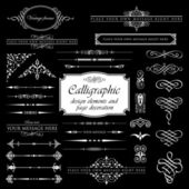 Calligraphic design elements and page decoration set 1 - Isolated On Black Background