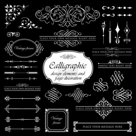Calligraphic design elements and page decoration set 2 - Isolated On Black Background