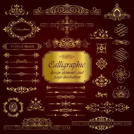 Golden calligraphic design elements and page decoration set 3