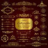 Vector calligraphic set in gold
