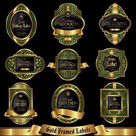 Gold framed labels set 5