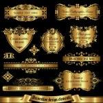 Vector set of golden decorative elements for desig...