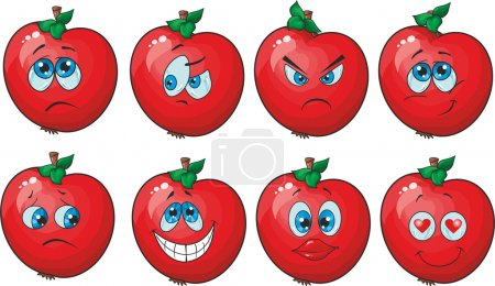 Illustration for Vector. Emotion cartoon red tomato vegetables set - Royalty Free Image