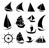 Set of silhouettes of ships on a white background