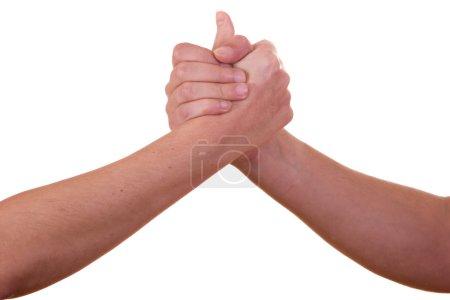 Photo pour Poignée de main sur fond blanc - image libre de droit