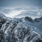 Snowy Mountains in the Swiss Alps