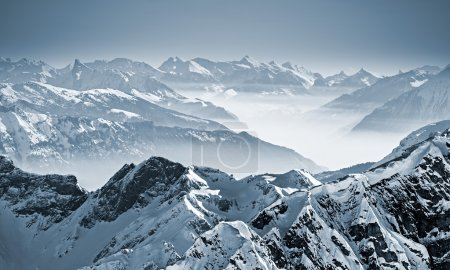 Photo for Snowy mountains in the Swiss Alps. View from Mount Titlis, Switzerland. - Royalty Free Image