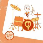 Vintage page theme musician cartoon drummer