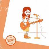 Vintage page theme acoustic guitarist cartoon