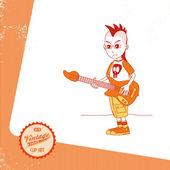 Vintage page theme Cartoon bassist