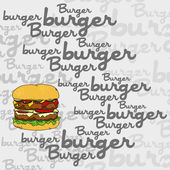 Burger  art page sign illustration