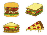 Hamburger sandwich pizza theme