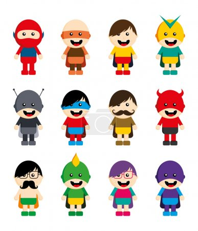Amazing cartoon superhero set