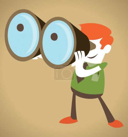 Illustration for Retro Corporate Guy with his huge binoculars - Royalty Free Image