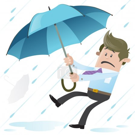 Illustration for Business Buddy blown away with Umbrella - Royalty Free Image