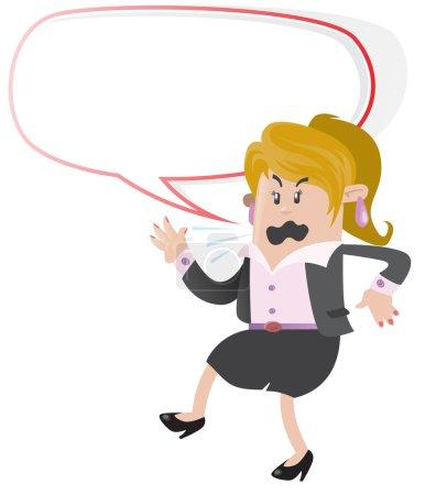 Businesswoman Buddy shouting with Speech Bubble...