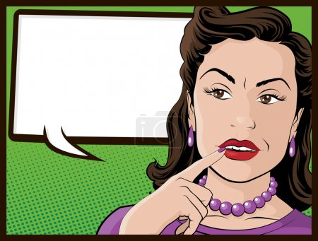 Illustration for Illustration of a Pop Art Style Comic book Stereotypical Housewife who looks very confused. - Royalty Free Image