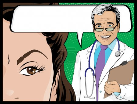 Comic Style Doctor and Woman Patient Talking