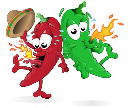 Green and Red Hot Chili Pepper