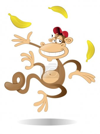 Illustration for Monkey juggling three bananas - Royalty Free Image