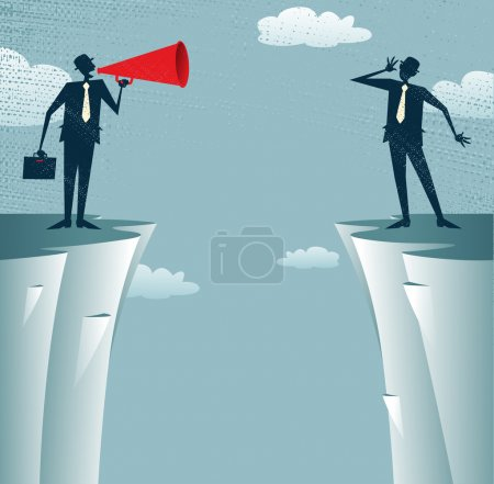 Illustration for Abstract Businessmen communicating from distance. Vector illustration of Businessman standing on the cliffs shouting through a loudspeaker to his colleague who is trying to hear him. - Royalty Free Image