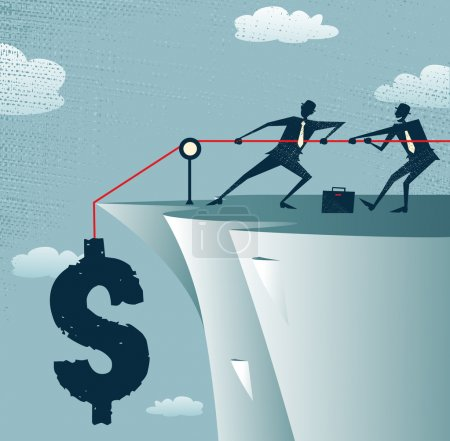 Illustration for Abstract Businessmen work together to save the money. Vector illustration of Retro styled Businessman standing on the cliffs saving the money by pulling up the Dollar. - Royalty Free Image