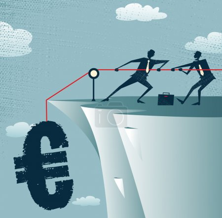 Illustration for Abstract Businessmen work together to save the money. Vector illustration of Retro styled Businessman standing on the cliffs saving the money by pulling up the Euro. - Royalty Free Image