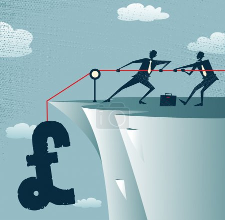 Illustration for Abstract Businessmen work together to save the money. Vector illustration of Retro styled Businessman standing on the cliffs saving the money by pulling up the Pound. - Royalty Free Image