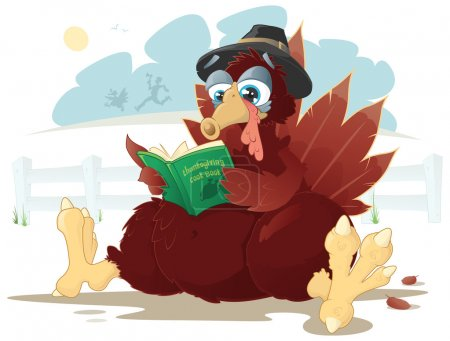 Thanksgiving turkey reading a cookbook