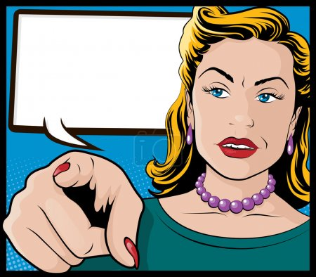 Pop Art Woman with Pointing Hand